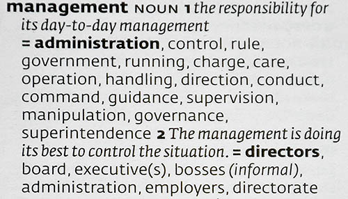 An entry from Collins English Thesaurus explaining the word management