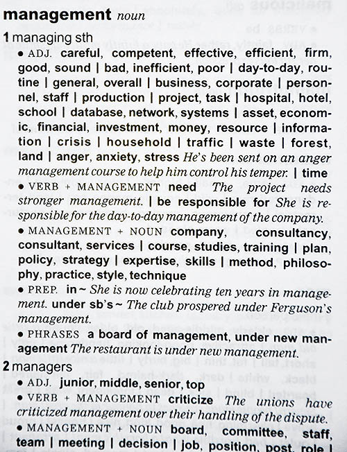 An entry from Oxford Collocations Dictionary explaining the word management
