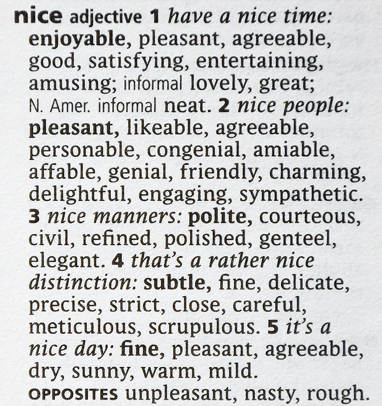 The entry for the word nice from Oxford Dictionary of Synonyms and Antonyms