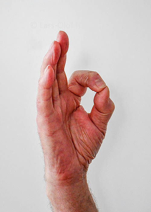 A hand showing the OK sign with thumb and index finger forming a circle and the other fingers pointing upwards.